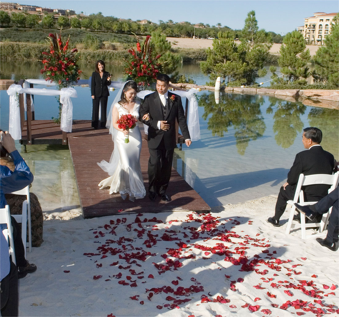 man and woman at wedding venue getting married